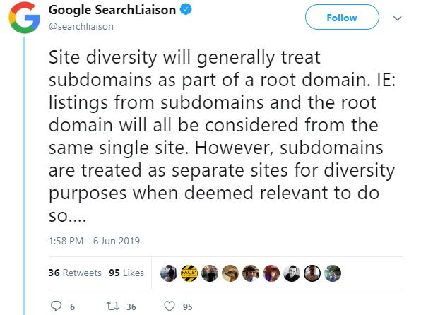 search diversity update