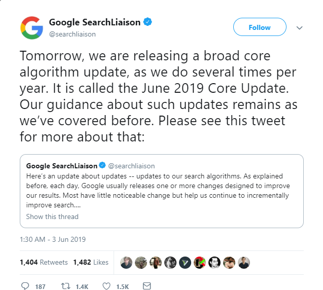 Google Algorithm Update June 2019