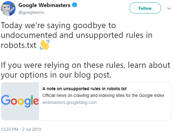 Google Webmaster announces