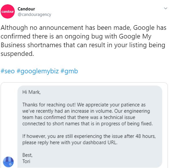 Google short names suspension bug