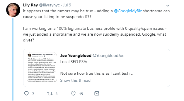Shortnames causing Google my business suspension