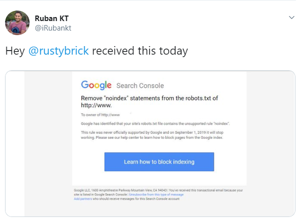 google search console sending notifications for noindex robots.txt directive