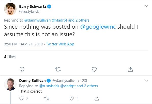 no google indexing issue says danny sullivan