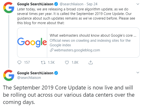 Google September 2019 core update