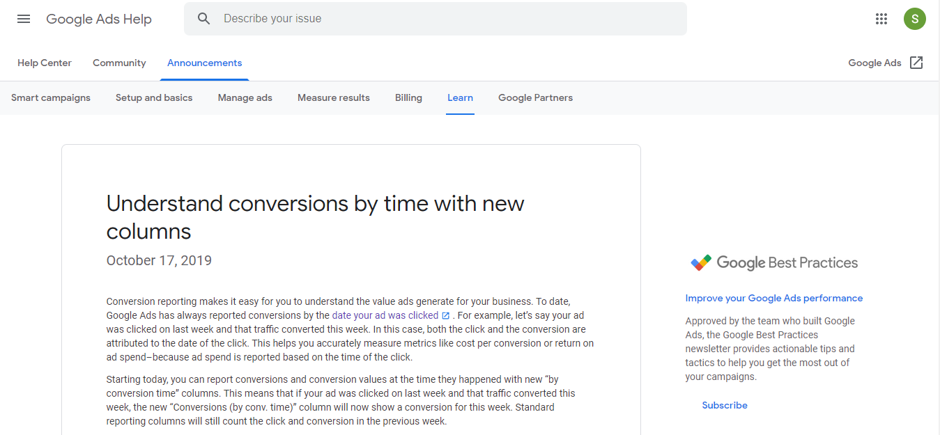 Google updates Conversion by Time column